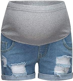 ZARLLE_Vestidos para mujer Mujeres Embarazadas Nuevo Pantalones Cortos de Mezclilla Suaves Leggings Jeans,ZARLLE Circunferencia de Cintura Ajustable Pantalones Cortos elásticos Suaves Jeans