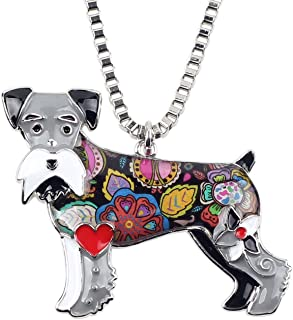 BONSNY Signature Dog Collection Love Pets Silver Statement Schnauzer Necklace Dog Animal Pendant