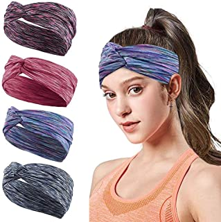 LKBOX Workout Headbands for Women Men Non Slip Wide Elastic Sweat Bands Strechy Lightweight Breathable Wrap Hair Sports He...