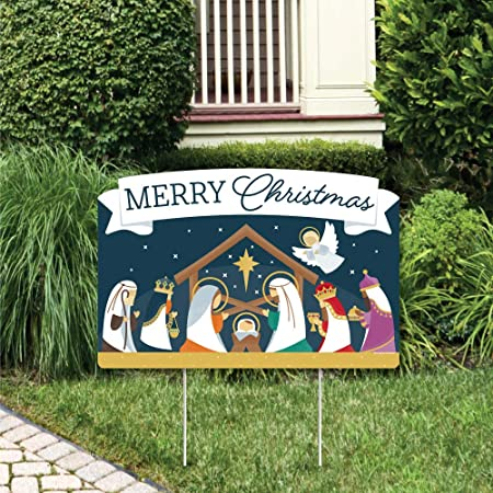 Big Dot of Happiness Holy Nativity - Manger Scene Religious Christmas Yard Sign Lawn Decorations - Merry Christmas Party Yardy Sign