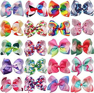 20 Colors 6 Inch Large Big Hair Bows Alligator Hair Clips Grosgrain Ribbon Rainbow Hair Bow Unicorn Hair Clips for Girls Toddlers Kids Children