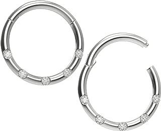 Bling Piercing 2pc 18g CZ Stainless Steel Clicker Septum Rings Clamp Seamless Segment Nose Hoop Ear
