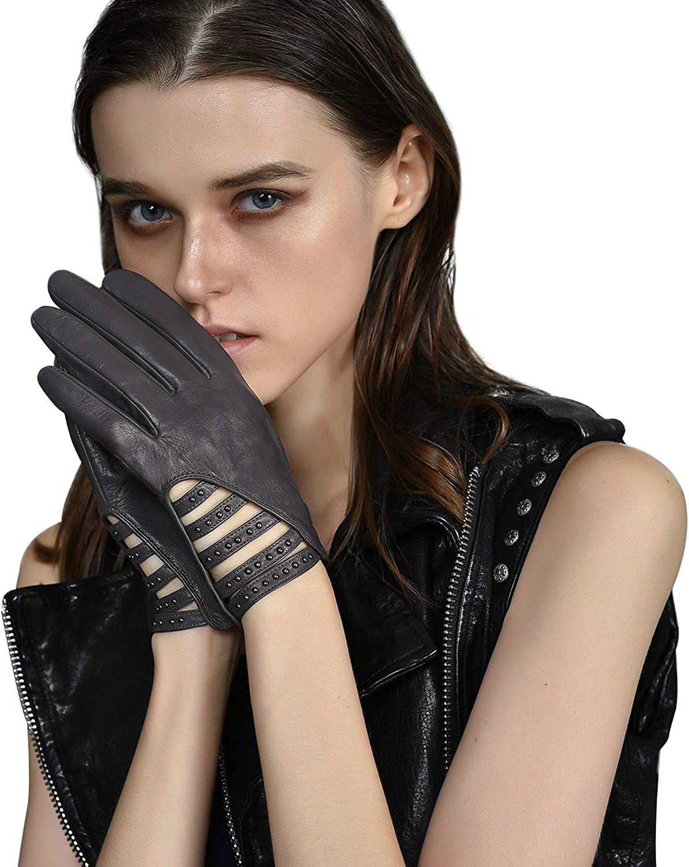 FIORETTO Women's Leather Driving Gloves,Sheepskin Leather DrivingGloves,Driving Gloves Unlined