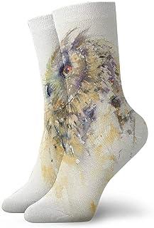 tyui7, Calcetines de compresión antideslizantes de búho en acuarela Calcetines deportivos acogedores de 30 cm para hombres, mujeres y niños