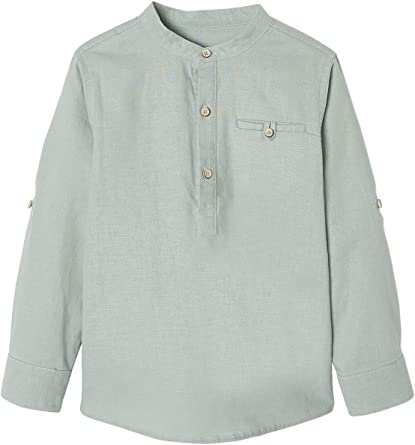 VERTBAUDET Camisa de Lino/algodón para niño con Cuello Mao, de Manga Larga