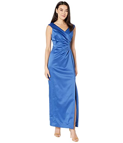 Tahari by ASL Petite Stretch Satin Side Draped Long Gown (Cerulean Blue) Women