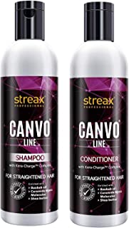 Streax Professional Canvo Line Shampoo ( 250ML ) & Conditioner ( 250ML ) For Straightened Hair