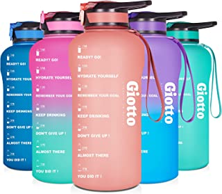 Giotto Large Half Gallon/64oz Motivational Water Bottle with Time Marker & Straw,Leakproof BPA Free Sports Water Jug with ...