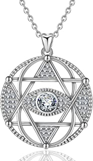 INFUSEU Sterling Silver Hamsa Hand Evil Eye Star of David Pendant Necklace Talisman CZ Jewelry for Women Girl