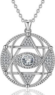 Sterling Silver Hamsa Hand Evil Eye Star of David Pendant Necklace Talisman CZ Jewelry for Women Girl