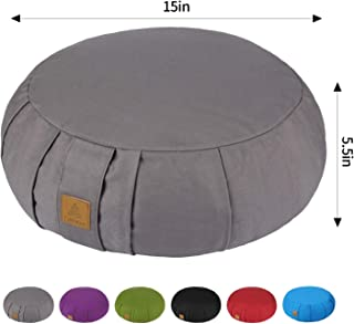 FelizMax Round Zafu Meditation Cushion, Zabuton Meditation Pillow, Yoga Bolster/Pillow, Floor seat, Zippered Organic Cotton Cover, Natural Buckwheat, Kneeling Pillow - 5 Colors and Large