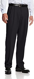 Haggar Men's Mynx Gabardine Pleat-Front Dress Pant with Hidden Expandable Waist