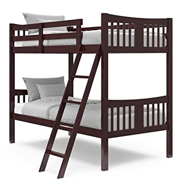 Amazon Com Storkcraft Caribou Solid Hardwood Twin Bunk Bed With Ladder And Safety Rail Espresso Baby