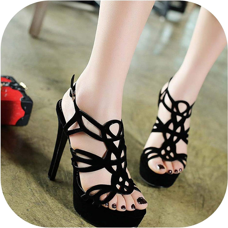 Women Cut Out Open Toe Party Sandals Ladies Sexy Platform High Heel shoes,Black,9