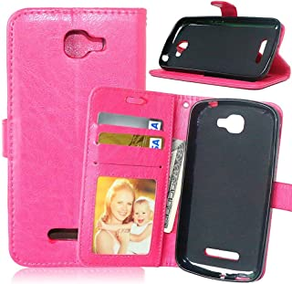 Fierce 2 Case Alcatel 7040T Case,Bat King [Stand][3 Credit Cards Slot][Cash Pockets] Premium Leather Flip Cover Wallet Case for for ALCATEL ONE TOUCH Fierce 2/Alcatel 7040T/POP ICON A564C(Hot Pink)