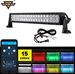 Auxbeam 22 Inch RGB LED Light Bar Multi-color light bar 5D V Series 120W Led Bar Off road Driving light Spot Flood Combo Beam with Bluetooth App & Wiring Harness
