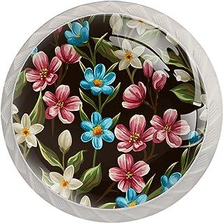 Poignées de Tiroir pour armoire,tiroir,coffre,commode,etc., Fleur transparente