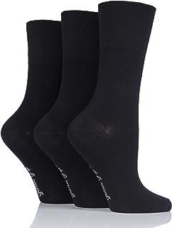 Ladies 3 Pair Gentle Grip Plain Bamboo Socks