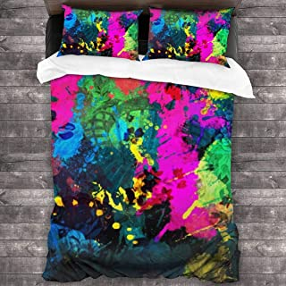pengyong Duvet Cover Set Color Paint Splatter 3 Piece Bedding Set Comforter Set with 2 Pillow Shams Zipper-Extra Long Perfect for Any Bed Room Or Guest Room