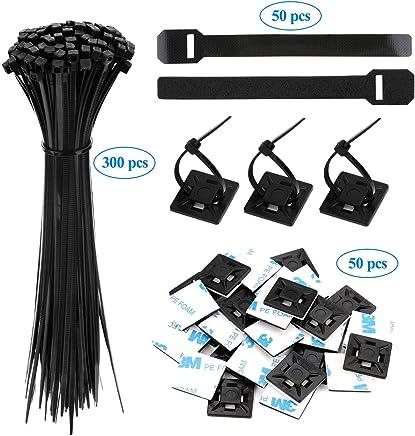 15CM, Blanc Attaches de C/âble,Rameng 100 Pcs Cable Attache Enveloppe Nylon Fixation Collier de Serrage