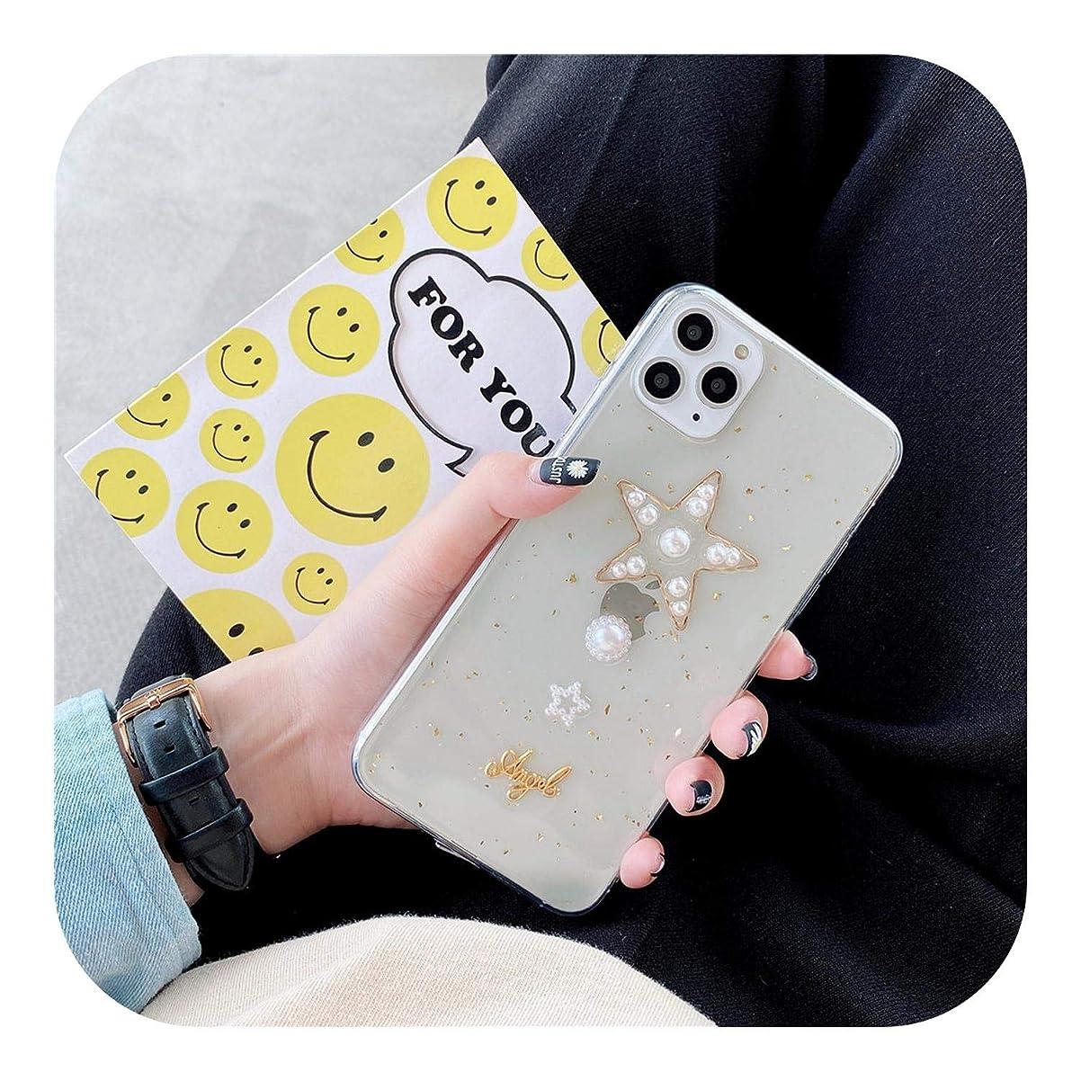 モロニック強い翻訳するAfeeg パールゴールドホイル電話ケースiphone 11プロマックスX XS XR Xsマックス7 8プラス透明愛ハートキラキラ電話ケース-T2-For iPhone X