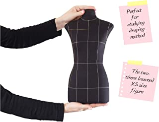 Mini Premium Half-Scale 1:2 to XS/Size 4 Professional Fully Pinnable Tailor Form Black Flexible Dress Form Sewing Mannequin Dummy Female Dressmaker Torso