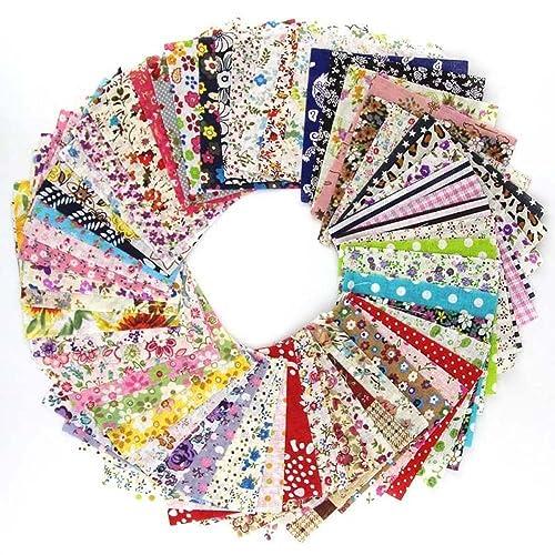 Souarts 60PCS Textile Tissu Coton Motif Petit Fleur pour DIY Patchwork Artisanat Couture Multicolore 10cmx10cm