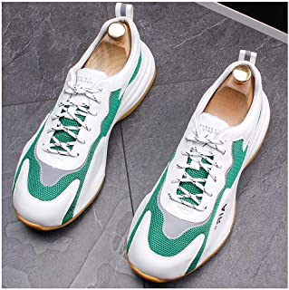 Unisex Men's Women's Air Running Shoes Trainers Mesh Breathable Sneakers Breathable Colorblock Low-Top Shoes for Multi Sport Athletic Jogging Fitness Walking Casual Shoes,Green,40EU