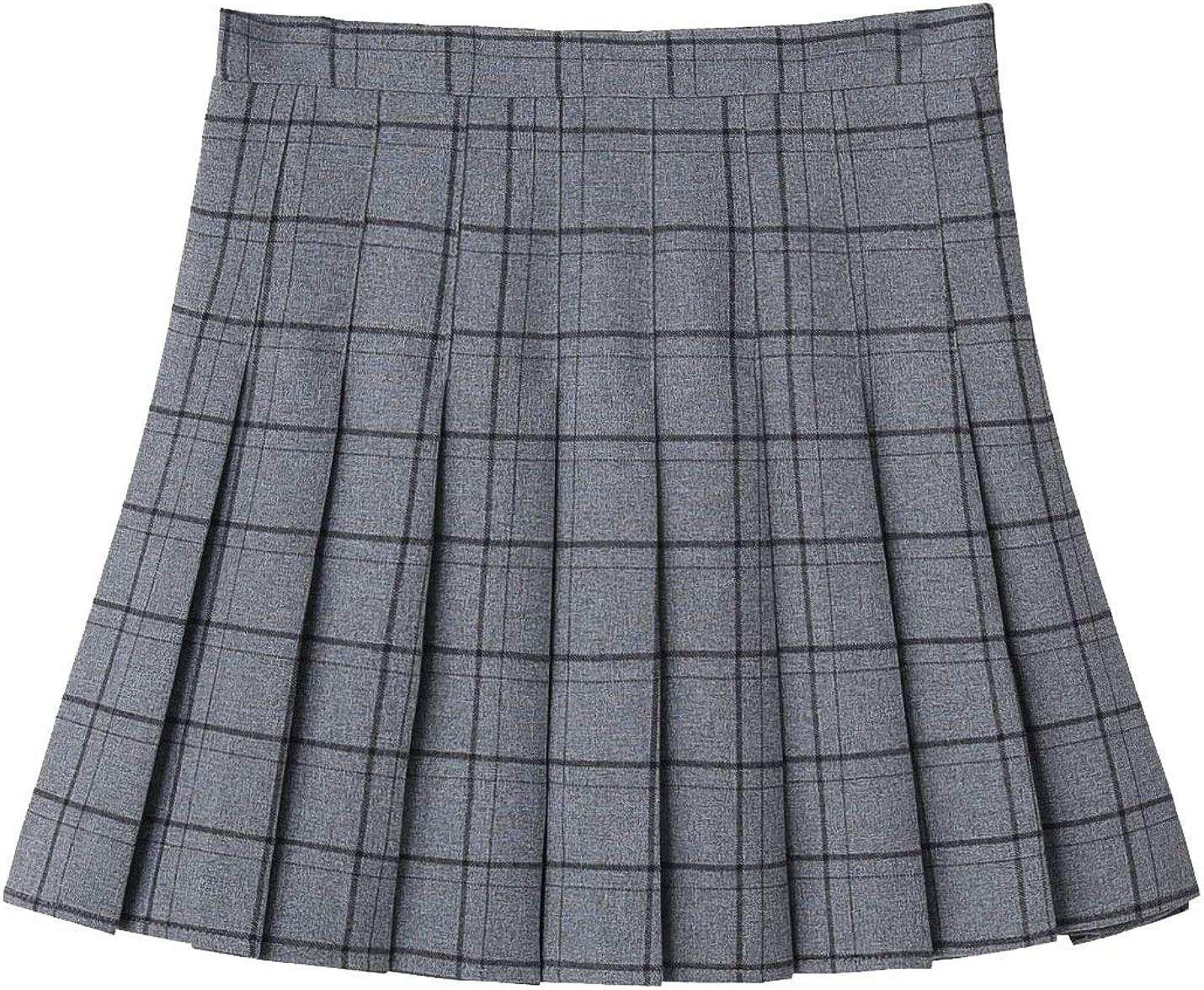 Lentta Womens Short Casual High Waist Plaid Pleated Flared Wool Blend A-Line Skirts