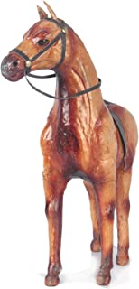 LEATHER HORSE STANDING - 12 INCHES (Brown) Handmade,Hand-Painted