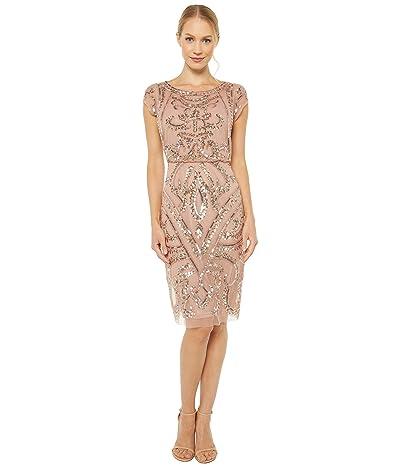 Adrianna Papell Beaded Blouson Sheath Dress (Rose Gold) Women