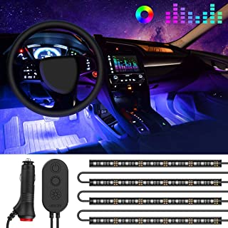 Govee One-Line Interior Car Lights, RGB Multicolor Music Car LED Strip Light, Waterproof Underdash Lighting Kits with Sound Active Function and Simple Control, 4pcs 48 LED, 12V Car Charger Included