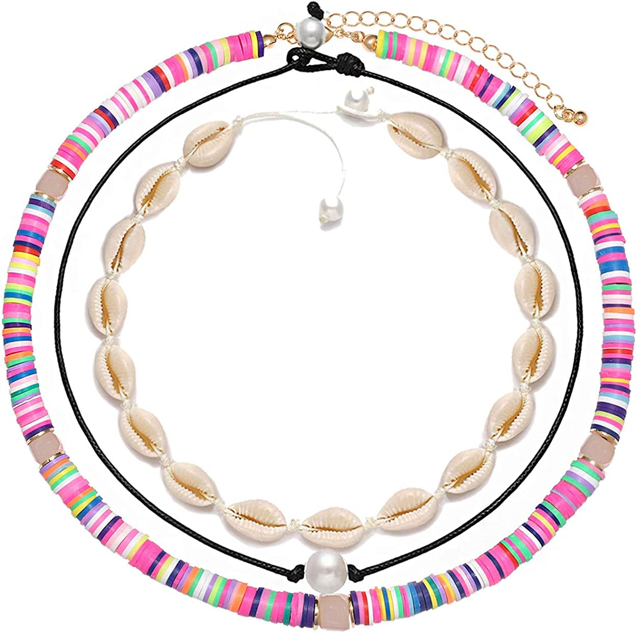 ANGLESJELL Heishi Surfer Choker Necklaces for Women Rainbow African Vinyl Disc Bead Necklace Hawaiian Cowrie Shell Necklace Summer Pearl Choker Necklaces Layering Beach Jewelry Set for Girls