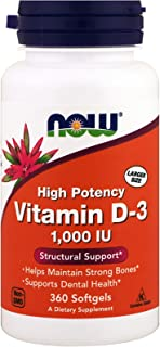 Sponsored Ad - NOW Foods - High Potency Vitamin D-3 Structural Support 1000 IU - 360 Softgels ( Multi-Pack)