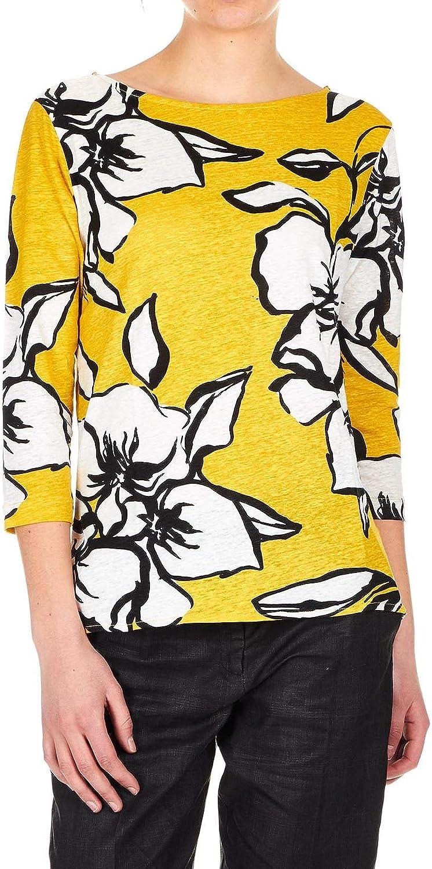 MAJESTIC FILATURES Women's J069FTS111507 Yellow Linen TShirt