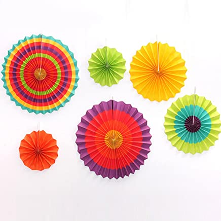 Wonepo Hanging Fan Paper Flowers Tissue Paper Pom Poms Butter Christmas Wedding Birthday Party Decorations Supplies Set of 6 (Rainbow)