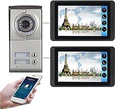 Wifi Video Deurbel, Intercom, 2 Appartementen Video Deurtelefoon Beveiligingskit, Nachtzicht Camera + 7 Inch Monitor, APP ...