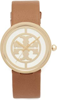 Tory Burch Women's The Reva Leather Watch, Gold/Ivory/Luggage, One Size