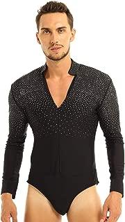 Men's Rhinestones V-Neck Latin Dance Shirt Ballroom Tango Rumba Salsa Long Sleeve Dancewear