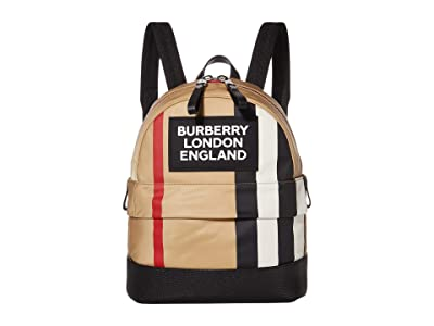 Burberry Kids Small Nico Stripe Logo Backpack (Archive Beige) Backpack Bags
