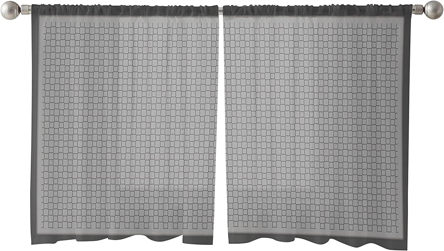 2 PCS Semi-Sheer Curtains 45 Inches Long - Pocket Voile Rod Popular shop is Challenge the lowest price of Japan the lowest price challenge Pane