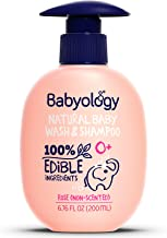 Babyology - 100% Edible Ingredients - Baby Wash & Shampoo - Non-scented (Organic Rose Water) - Clinically Tested - Tear-Free - 6,67 FL. OZ - Perfect Baby Shower Gift