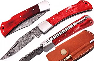 Alkaswa Knives Pocket Knife Red Bone Handle 7.5'' Beautiful Damascus Steel Knife Steel Bloster Folding Knife Back Lock 100% Prime Quality with Sharpening Rod and Leather Sheath(d-252)