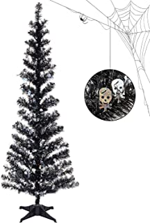 Black Tinsel Trees Collapsible, 5FT Artificial Halloween Christmas Tree Reusable, Pop Up Pencil Xmas Tree with Plastic Stand Outdoor Indoor for Home Decoration, Office, Party, Apartment, Fireplace