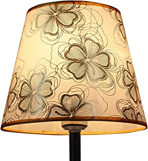 DULEE 9,5 pulgadas, casquillo E27, pantalla para lámpara de mesa, lámpara de mesa, lámpara de techo, (parte superior) 16 cm x (altura) 20 cm x (inferior) 24 cm, flor dorada
