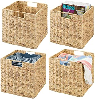 mDesign Natural Woven Hyacinth Closet Storage Organizer Basket Bin - Collapsible - for Cube Furniture Shelving in Closet, Bedroom, Bathroom, Entryway, Office - 10.5