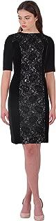 Teri Jon Lace & Velvet Panel Elbow Sleeve Sheath Cocktail Evening Dress