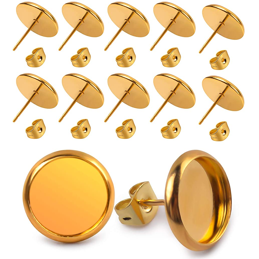 Jdesun 40 Pieces Stainless Steel Stud Earring Cabochon Setting Post Cup for 10mm and 40 Pieces Earring Safety Backs, Gold Color