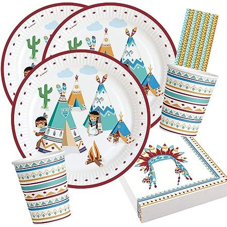 Amscan/Diverse Set de fête 44 pièces – Tipi indien et Tomahawk – assiettes, gobelets, serviettes et pailles pour 8 enfants