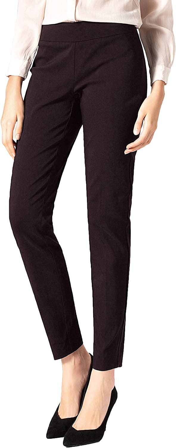SATINATO Women's Straight Pants Stretch Slim Skinny Solid Trousers Casual Business Office